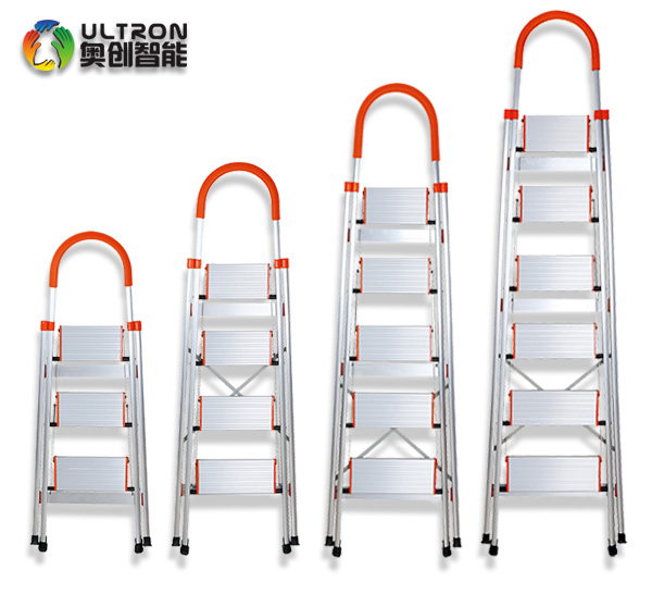 steel household step ladder with wide pedal and safe handrail